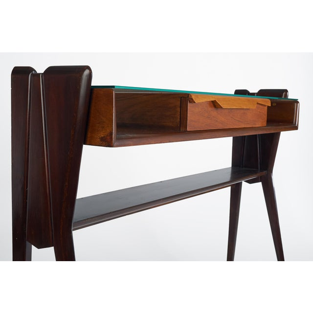 1950s Italian 1950s Ico Parisi Att., Biomorphic Three-Tone Rosewood and Glass Console For Sale - Image 5 of 7