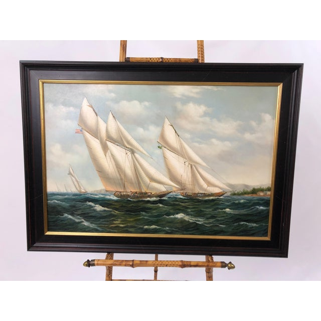 Realist Painting of Sailing Vessels by Cooper For Sale - Image 13 of 13