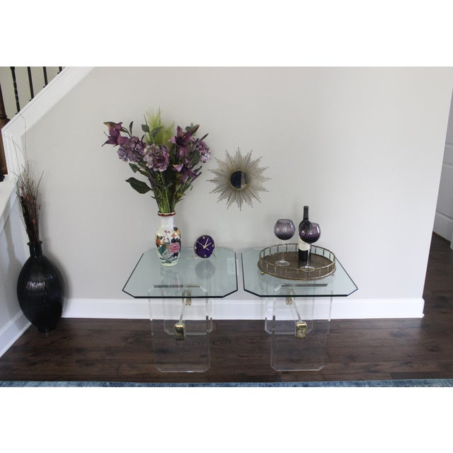 Vintage Lucite Brass and Glass End Tables - Pair - Image 3 of 11