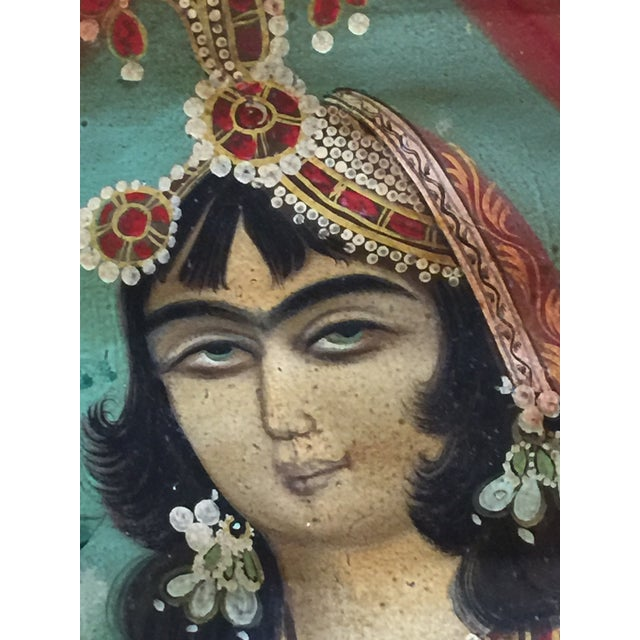 Canvas Antique Early 20th Century Persian Qajar Tea House Oil Painting on Canvas For Sale - Image 7 of 12
