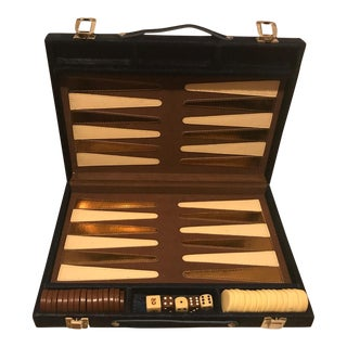 Vintage Midnight/Navy Blue Cowhide Backgammon Game For Sale