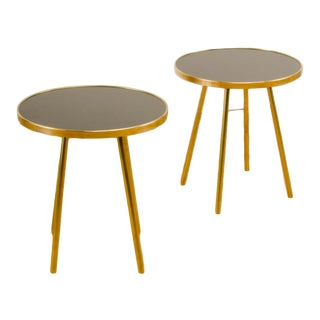Italian Modern Brass Occasional Tables on Brass Legs With Black Glass Tops. - a Pair For Sale