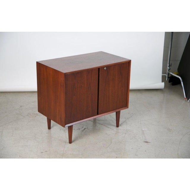 Mid-Century Modern Small Mid-Century Modern Lockable Walnut Cabinet or Mini-Bar or Dry Bar For Sale - Image 3 of 13