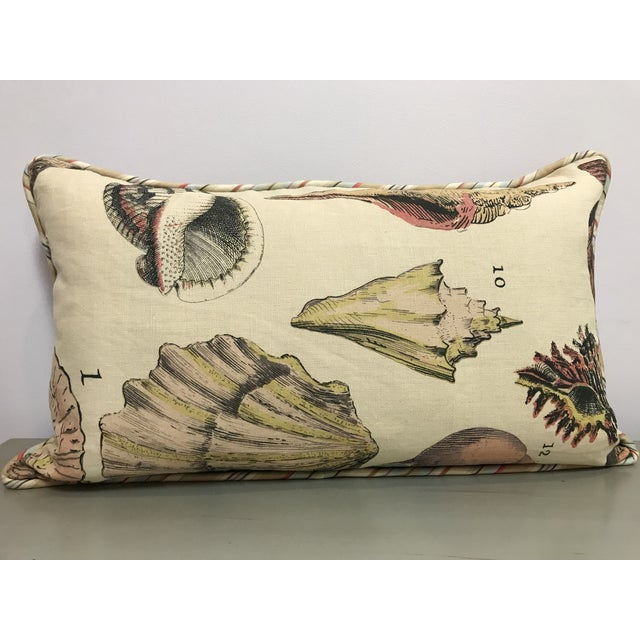 Feather Specimen Sea Shell Design Decorative Lumbar Throw Pillows - a Pair For Sale - Image 7 of 7