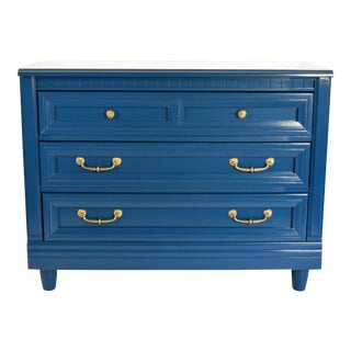 Vintage Lacquered Blue Glossy Dresser For Sale