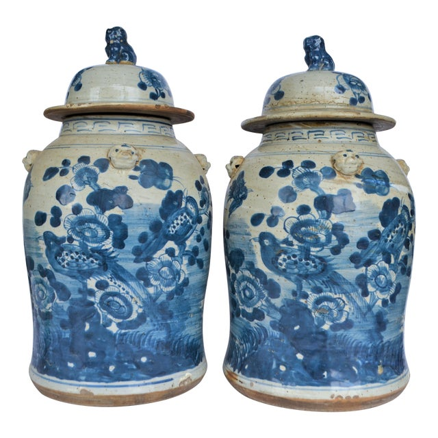 Chinoiserie White & Blue Baluster Temple With Birds / Ginger Jars - a Pair For Sale