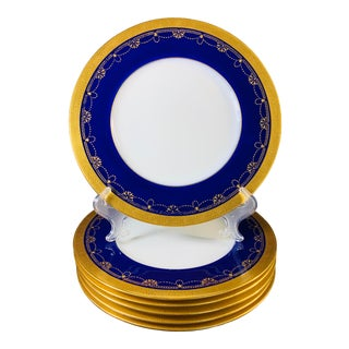 Early 19th Century English Cobalt Blue and Gold Embossed Porcelain Plates by Minton - Set of 6 For Sale