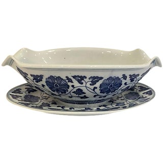 Blue & White Chinese Sauce Boat For Sale