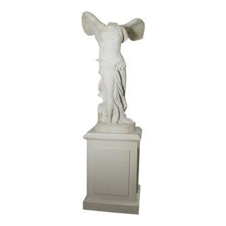 """La Victoire De Samothrace"" Marble Figure on Custom Wood Stand For Sale"