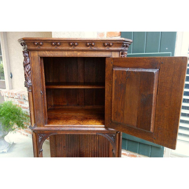 Antique French Carved Oak Gothic Vestment Cabinet For Sale - Image 9 of 11