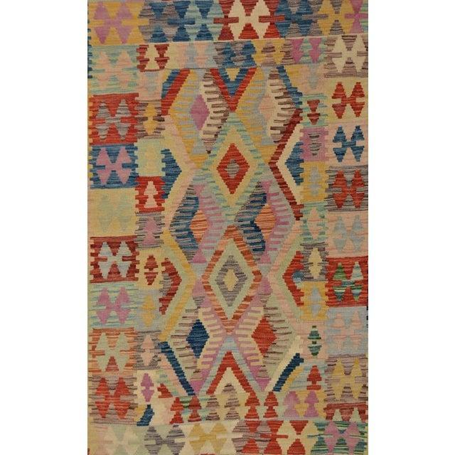 Boho Chic Arya Edmond Beige/Blue Wool Kilim Rug - 3'3 X 4'11 A9216 For Sale - Image 3 of 7
