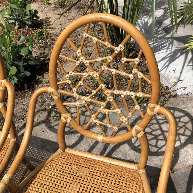 """Iconic pair of McGuire """"Cracked Ice"""" rattan chairs"""