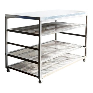 Custom Steel Rolling Rack With Expanded Metal Shelves For Sale