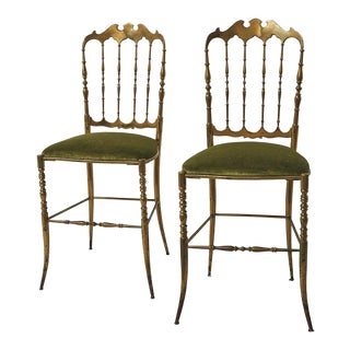 1950s Vintage Italian Brass Chiavari Chairs Upholstered in Schumacher Fabric - a Pair For Sale