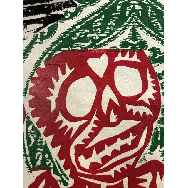 "1980s Michael Roman Stencil Painting ""Dia De Los Muertos"" For Sale In New York - Image 6 of 9"