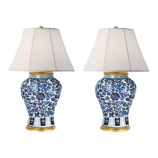 Vintage Ralph Lauren Chinoiserie Blue & White Marlena Table Lamps - A Pair