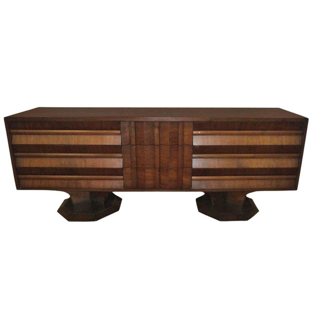 Brutalist Mid-Century Walnut Credenza Dresser - Image 1 of 7