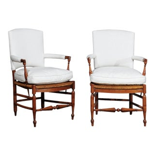 Country French Rush Seat Chairs - a Pair For Sale