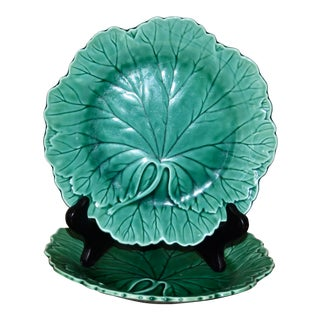 Wedgwood Etruria Barlaston Majolica Cabbage Leaf Plates - a Pair For Sale