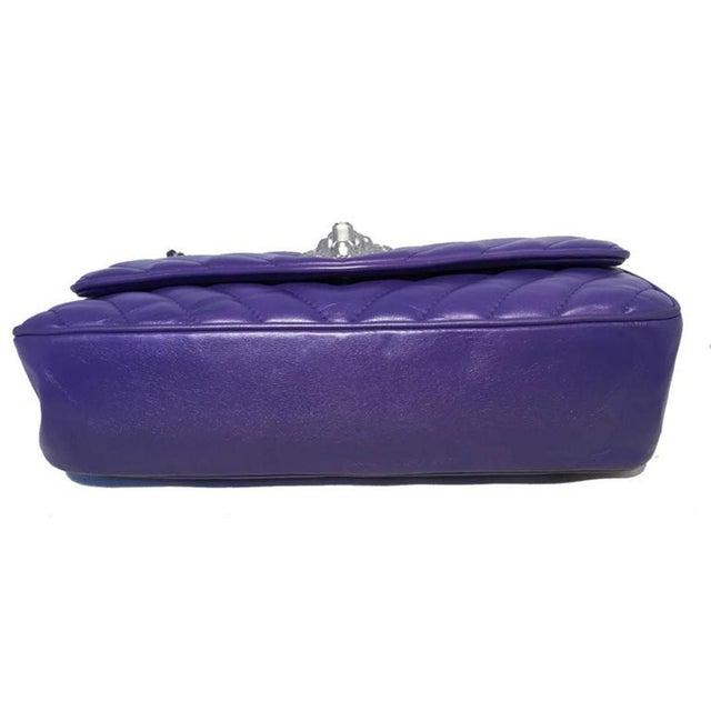 25a74c9e5249dc Chanel Chanel Purple Lambskin Leather Lion's Head Classic Flap Shoulder Bag  For Sale - Image 4