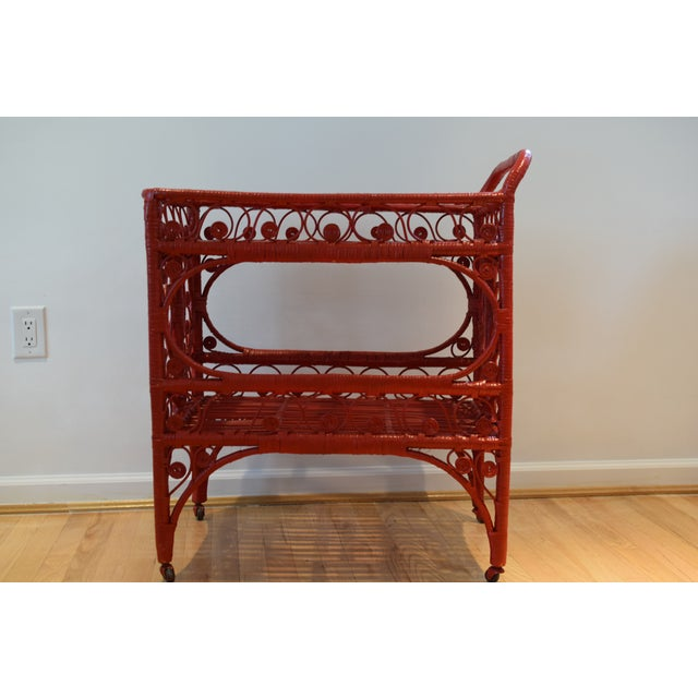 1970s Boho Chic Red Rattan Bohemian Cart For Sale - Image 10 of 12