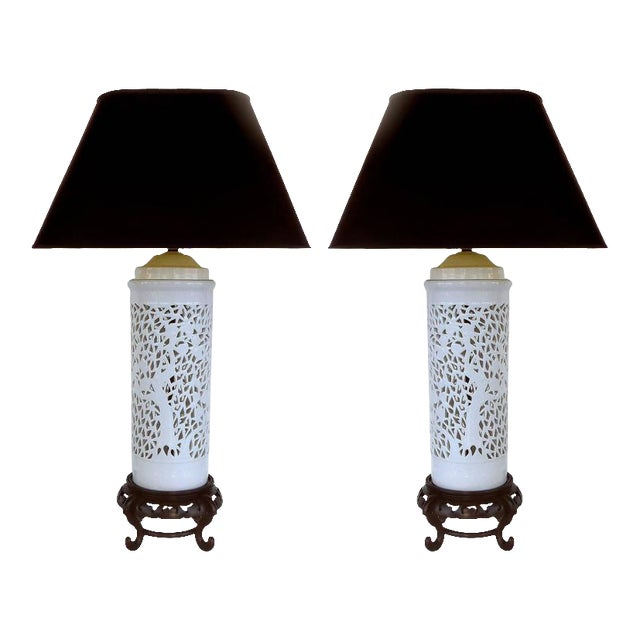 Mid-20th Century Asian Table Lamps in Porcelain on Wood Bases - A Pair For Sale