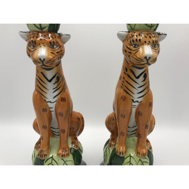 Primitive 1980s Leopard Sculpture Candlestick Holders, Pair For Sale - Image 3 of 9