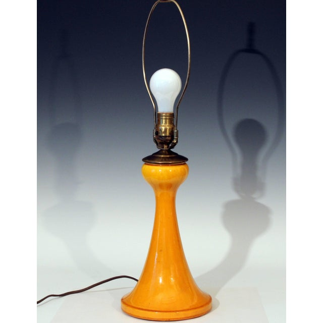 Arts & Crafts Antique Awaji Pottery Arts and Crafts Yellow Monochrome Desk Lamp For Sale - Image 3 of 9