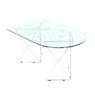 Pattern Etched Top Art Glass Dining Table with Chrome Wire Base Signed For Sale
