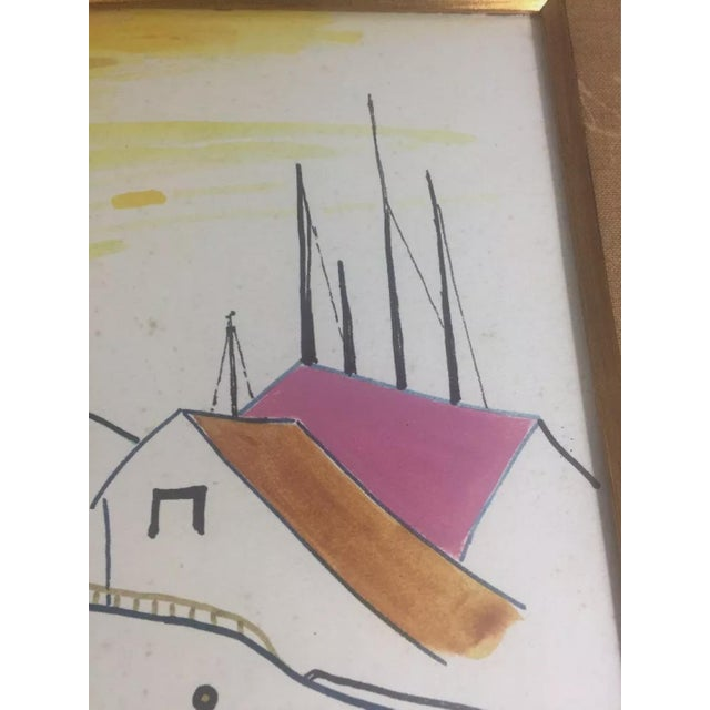 Watercolor 1960s Nautical Watercolor Painting by Ralston Crawford, Framed For Sale - Image 7 of 9