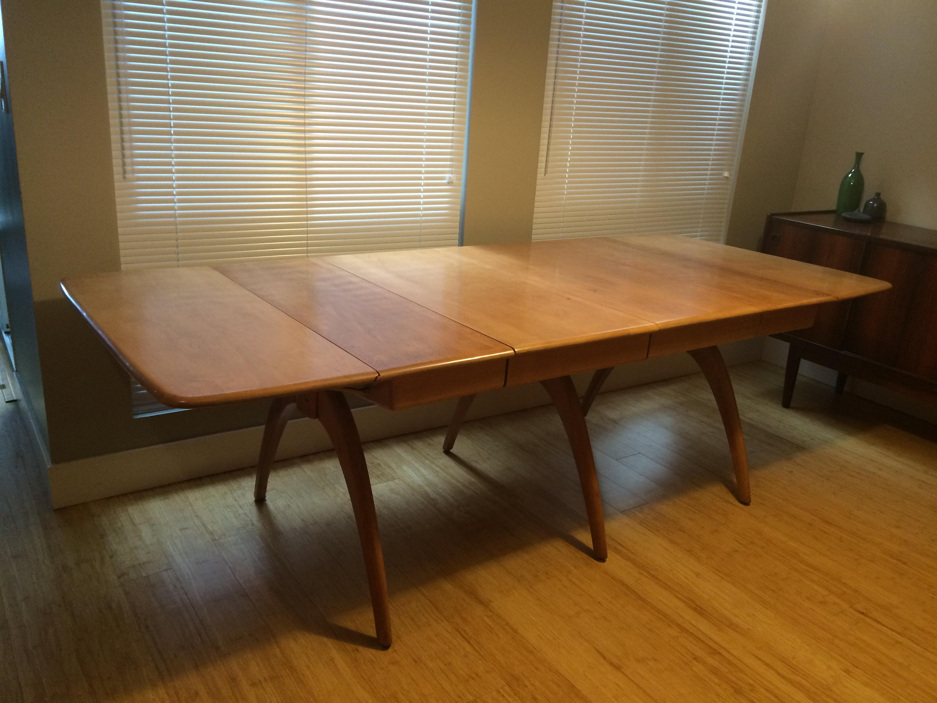 Exceptionnel Mid Century Modern Heywood Wakefield Drop Leaf Triple Wishbone Dining Table  For Sale   Image