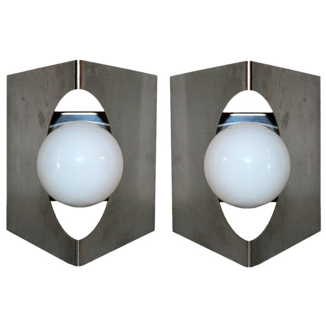 Modernist Pair of European Wall Sconces - Image 1 of 6