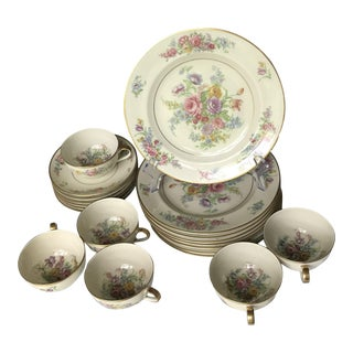 Antique Theodore Haviland Limoges Sveres Hand Painted France Partial Dinnerware - 32 Pieces For Sale