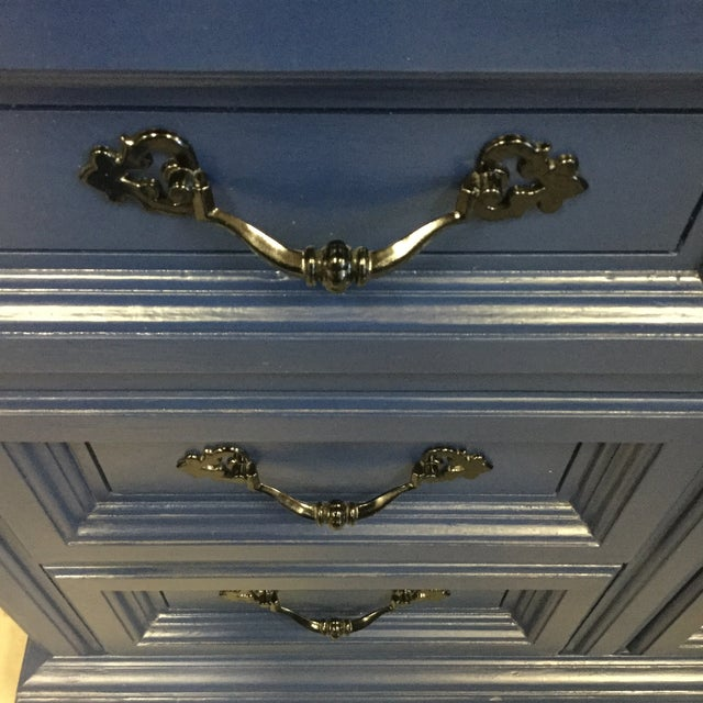 1970s Vintage Dixie Lacquered Blue and Black Dresser For Sale - Image 11 of 11