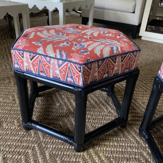 Willow and Reed 1960s Willow & Reed Chinoiserie Rattan Octagonal Ottomans- a Pair For Sale - Image 4 of 13