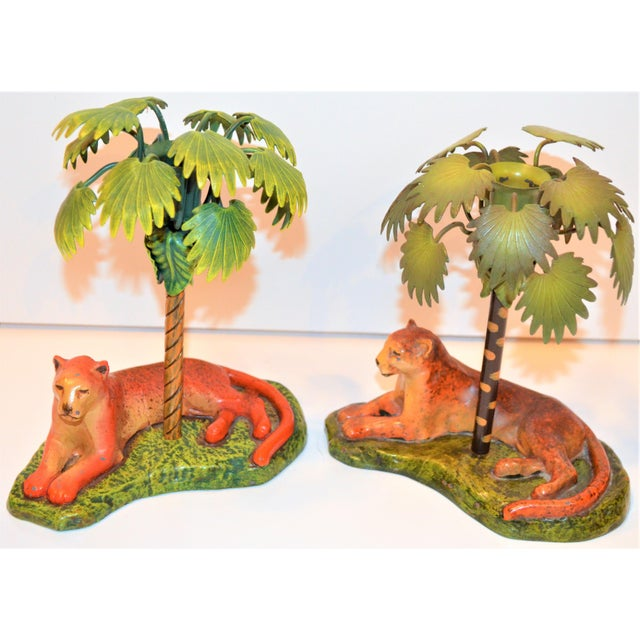 1980s Vintage Art Deco Metal Leopard and Palm Tree Candleholders - a Pair - a Pair For Sale - Image 5 of 7