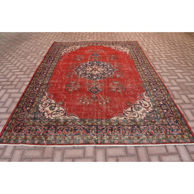 "Vintage Turkish Medallion Oushak Rug - 7'1"" X 9'10"" - Image 2 of 7"