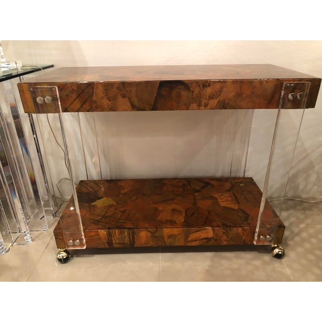 Vintage Brutalist Copper Brass Mixed Metals Patchwork Lucite Bar Cart For Sale In West Palm - Image 6 of 13