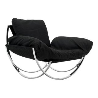 1970s Italian Curved Chrome Framed Lounge Chair Imported by Stendig For Sale