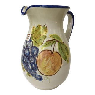 Vintage Vietri Italian Hand Painted Blue and White Fruit Pitcher