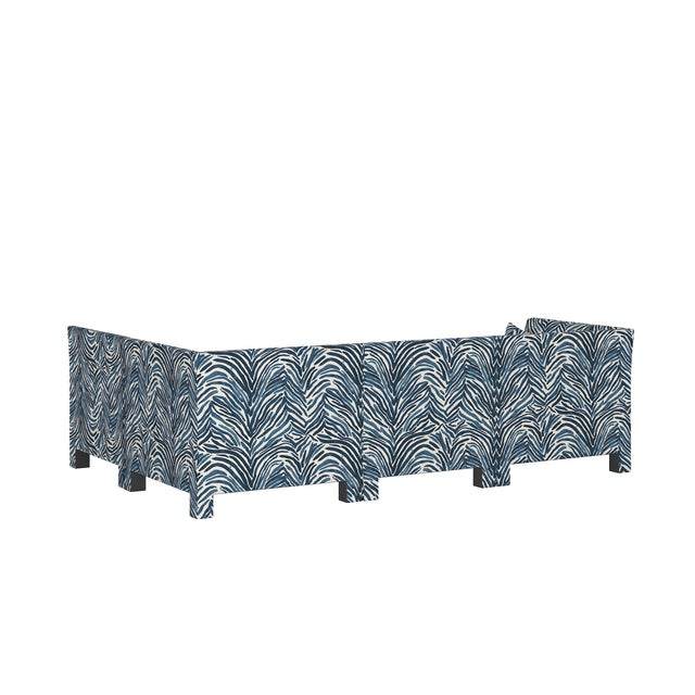 Washed Zebra Blue 4 Piece Sectional For Sale - Image 4 of 9