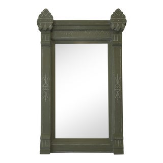 Early 20th Century Victorian Eastlake Olive Green Wooden Wall Mirror