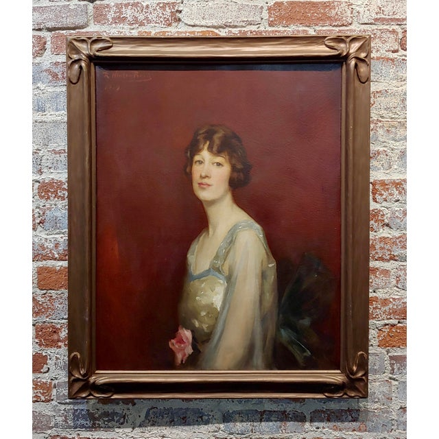 Roland Hinton Perry -Portrait of a Woman in a Stylish Dress -C.1919 Oil Painting For Sale - Image 11 of 11