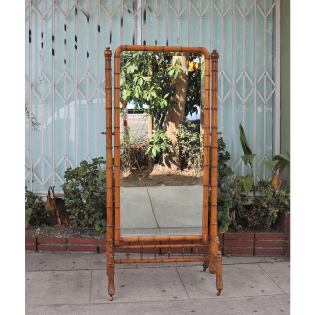 Hollywood Regency Bamboo Floor Mirror For Sale - Image 13 of 13