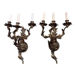 Pair of Antique French Bronze Wall Sconces For Sale