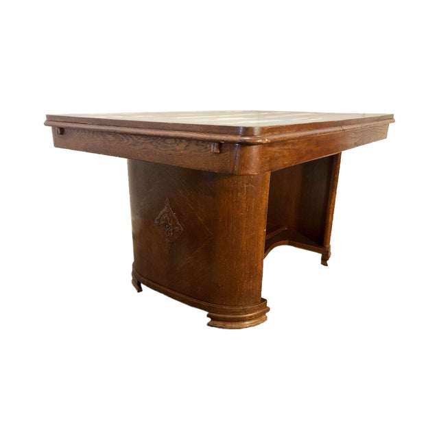 1920s Traditional Solid Oak Captain's Dining/Center Table with Patina For Sale - Image 12 of 12