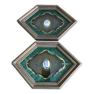 Antique Victorian Art Deco Framed Cameos - a Pair For Sale