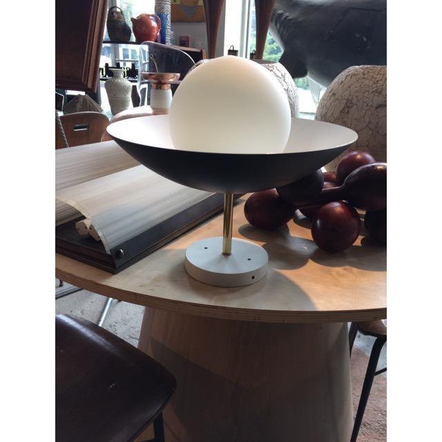 Metal Sasco Brass and Glass Globe Semi-Flush Mount Pendant Light For Sale - Image 7 of 9