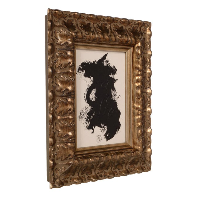 Abstract Original Black and White Abstract Painting With Ornate Frame For Sale - Image 3 of 4