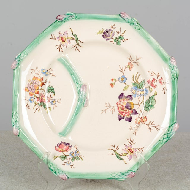 Longchamp French Majolica Asparagus Plates and Serving Set For Sale - Image 12 of 13